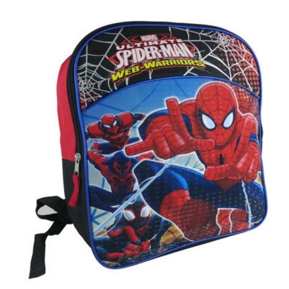 "NWT Disney Store Marvel Spiderman Backpack School Bag 16/"" Spider Man Tote Book"